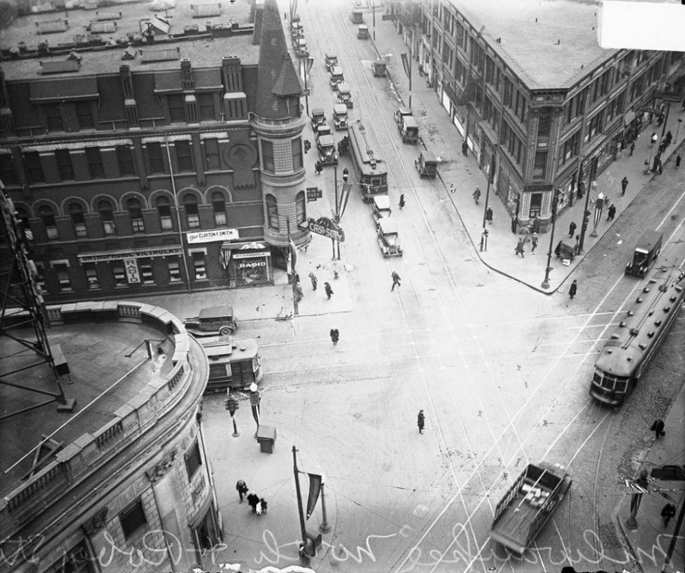1929: a bird's-eye view of Milwaukee, North, and Damen Avenues in Wicker Park