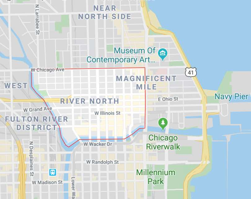 Map of River North, Chicago