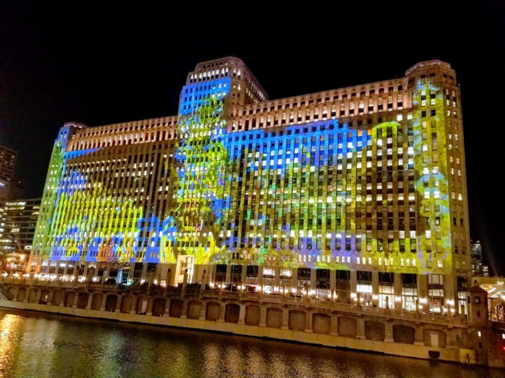Merchandise Mart light show at night - Things to do in Chicago