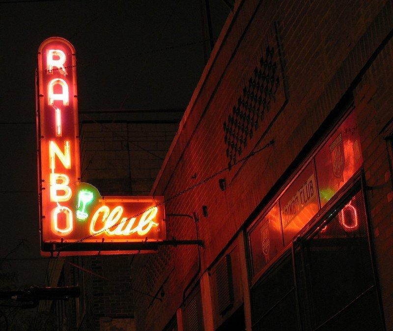 The Rainbo Club Outside Sign