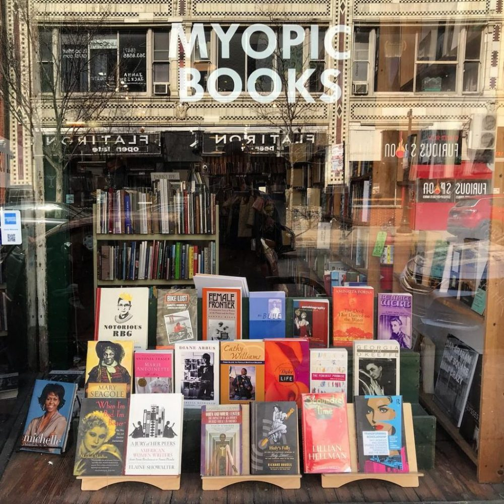Myopic Bookstore window one of the best things to do in Chicago