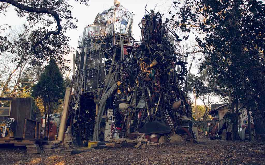 A view of the Cathedral of Junk, a unique structure made up from other people rubbish, in downtown Austin, Texas | Best things to do in Austin
