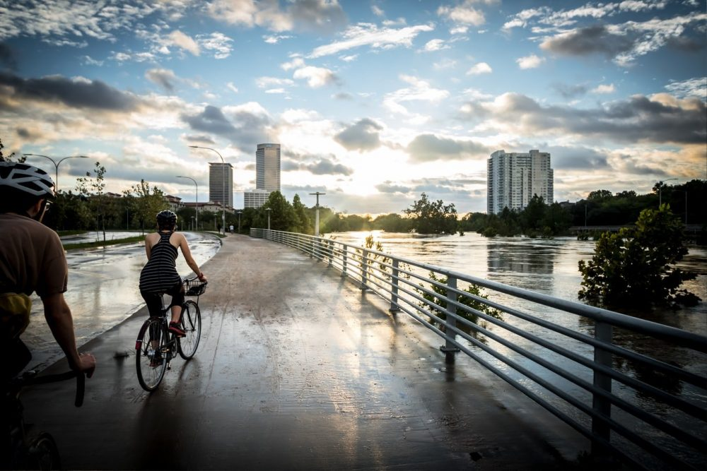 Bikers at Buffalo Bayou Park | things to do in houston