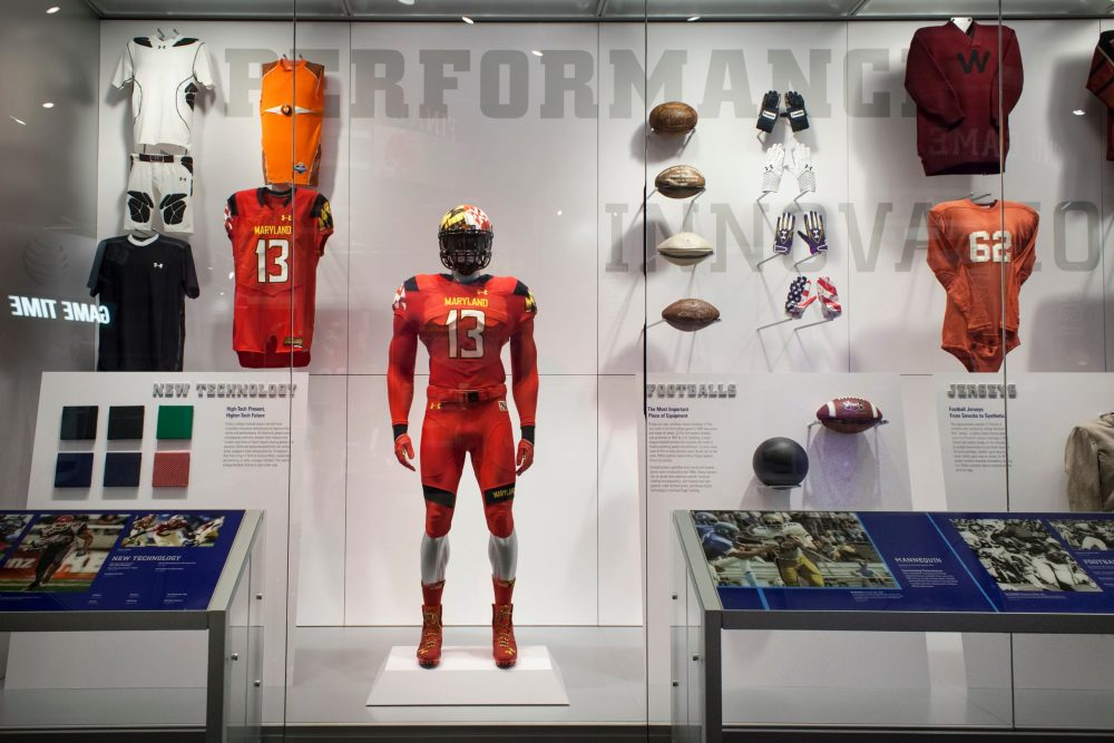 Display of old American football equipment at the College Football Hall of Fame | things to do in atlanta