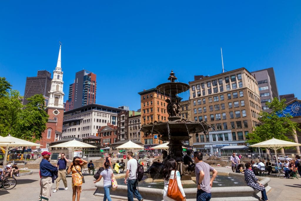 Fountain in Park Street Church along the Freedom Trail | best thingsto do in Boston