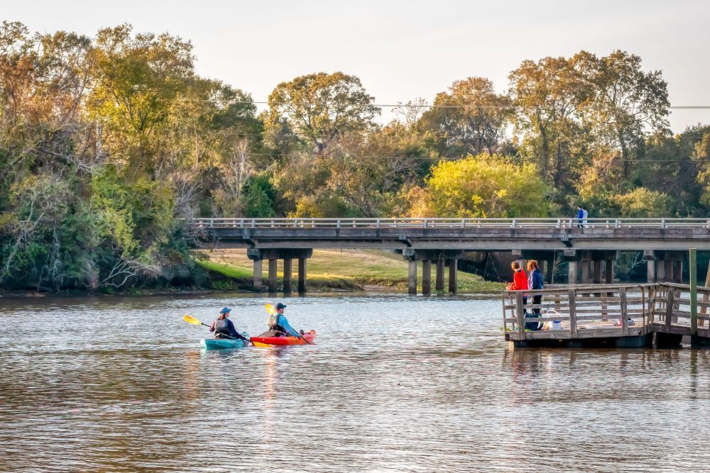 Kayakers paddle down Armand Bayou | things to do in houston