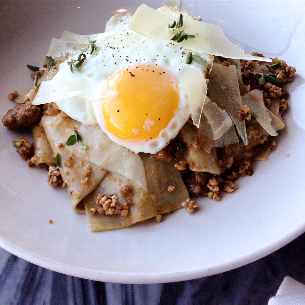 Lula Café's house made buckwheat pappardelle with a lamb bolognese | best brunch places in chicago, brunch in chicago