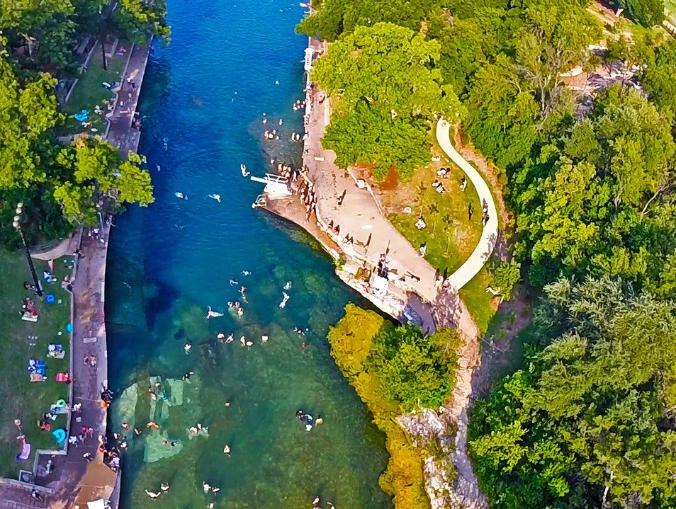 Magnificent aerial view of Barton Springs Pool | best things to do in Austin