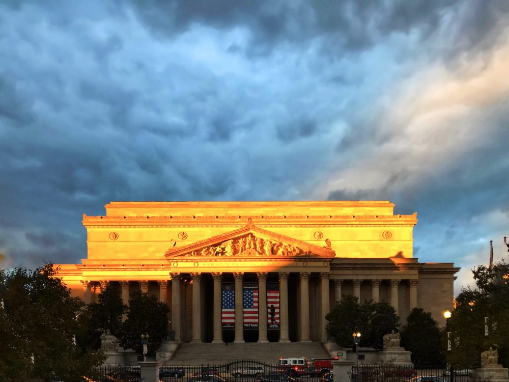 National Archives Museum - Entrance photo of National Archives Museum with sunset | things to do in dc