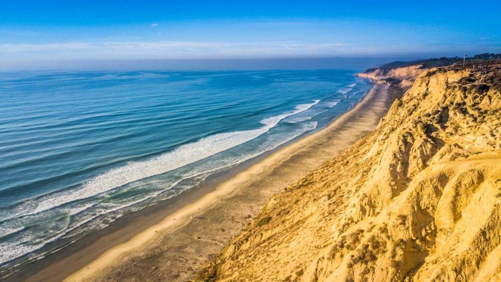 Aerial of beach in Blacks Beach ❙ Best Beaches in San Diego