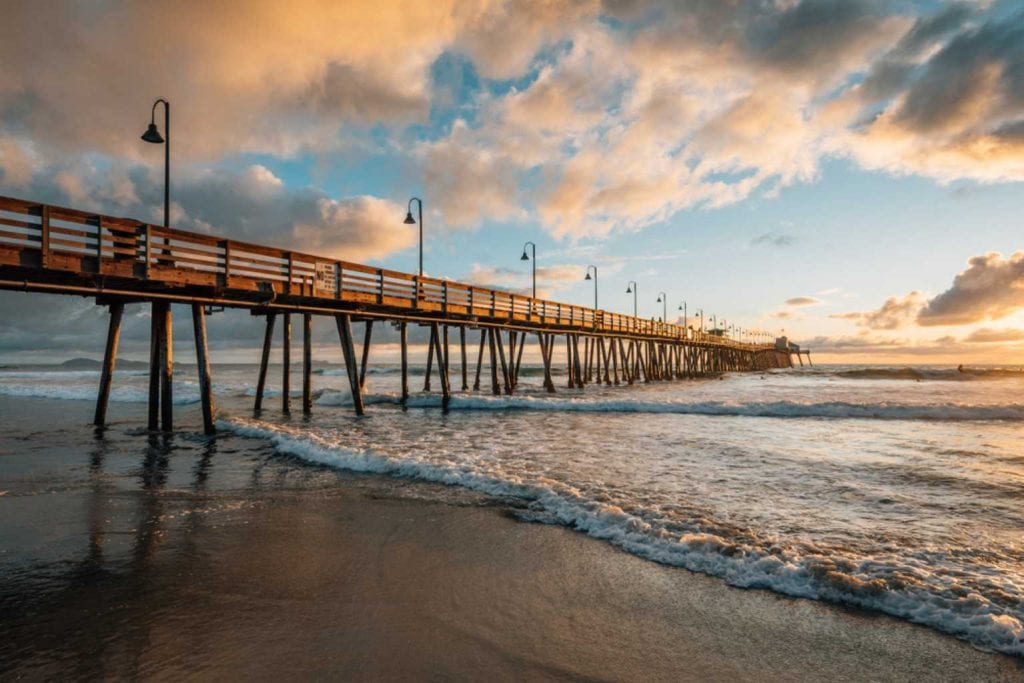 Pier and Pacific Ocean at sunset, in Imperial Beach-Best Beaches in San Diego