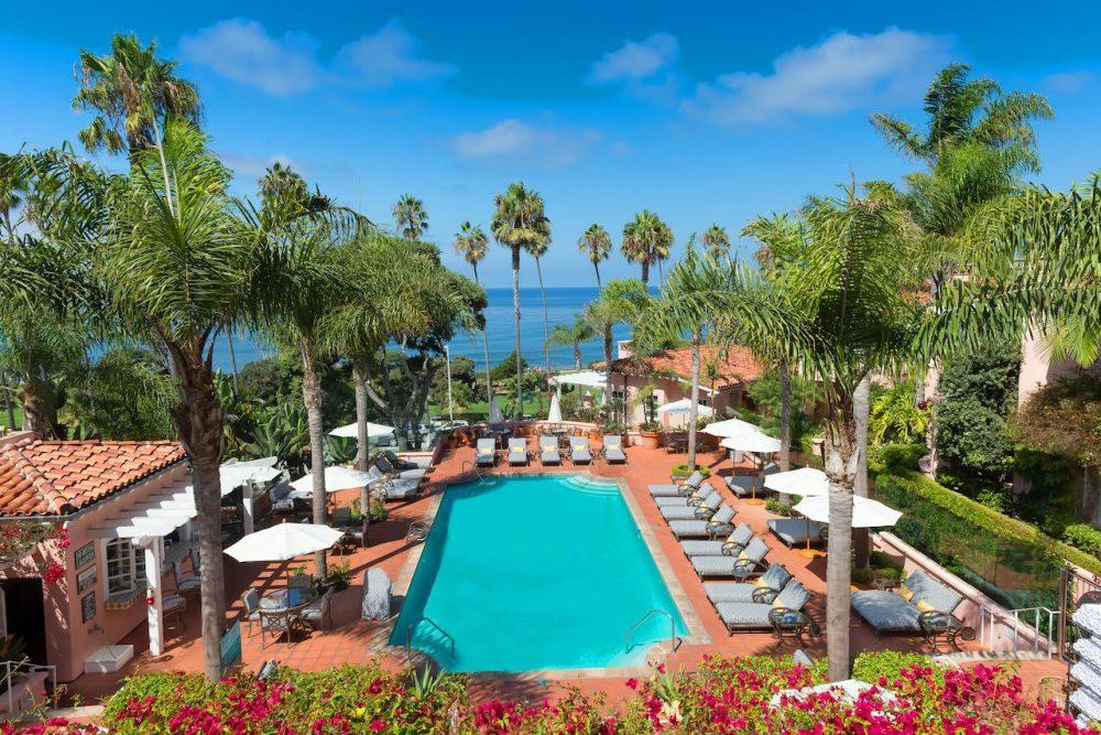 Swimming pool with sea view at La Valencia Hotel