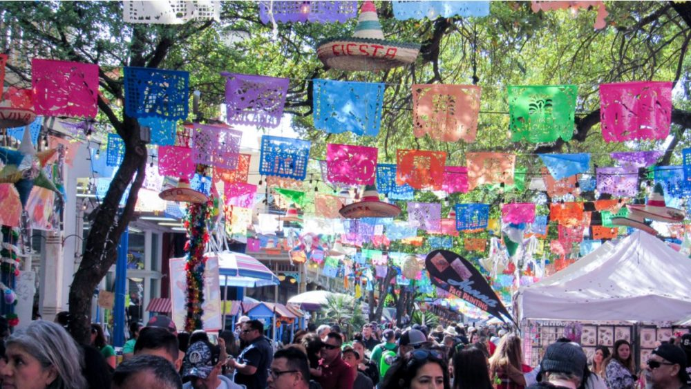 The Market Square of downtown San Antonio as it prepares for fiesta coming in April.