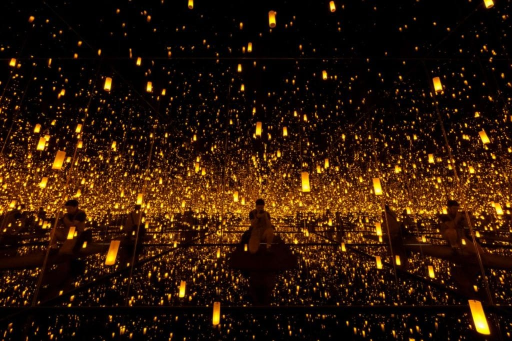 The famous Infinity Mirrored Room showing in Bellagio Gallery of Fine Art
