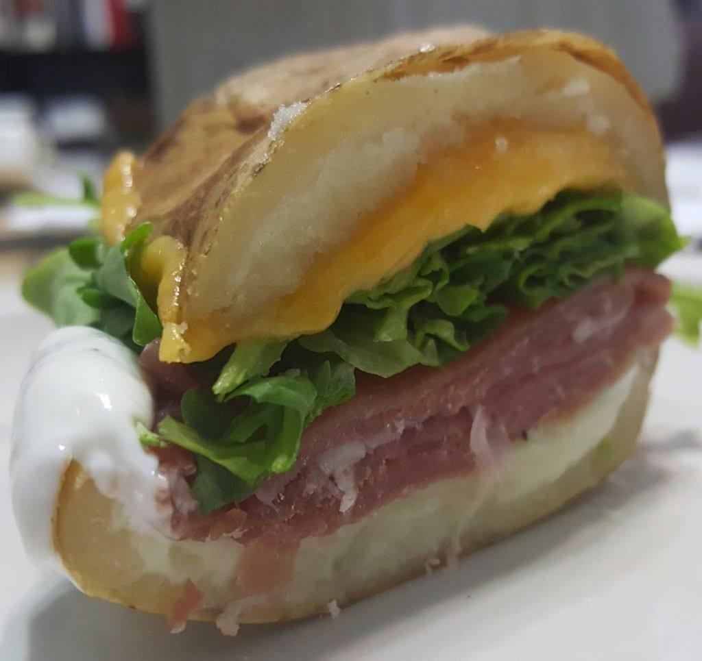 The famous baked potato sandwich in 3rd Coast Café