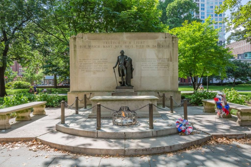View of tomb of the unknown revolutionary war soldier in Washington Square at Independence National Historic Park - Best things to do in Philadelphia