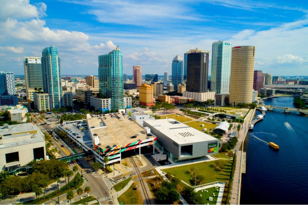 Aerial drone image of Tampa Museum of Art | best things to do in tampa