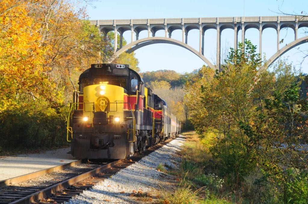 An oncoming passenger train Things to do in Akron