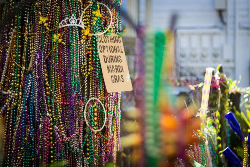 Beads on display along Magazine Street | best things to do in new orleans
