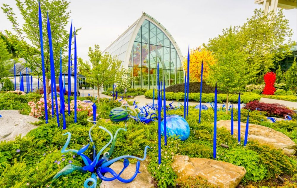 Blown glass in abstract shapes in red and yellow, Chihuly Garden and Glass Museum | things to do in seattle