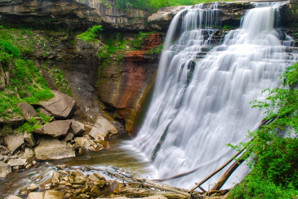 Brandywine Falls in Cuyahoga Valley National Park, Ohio in summer | things to do in akron