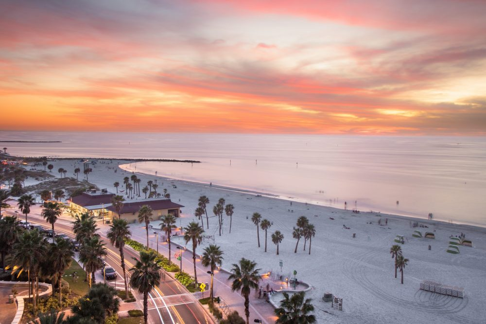 Clearwater Beach at sunset | things to do in orlando