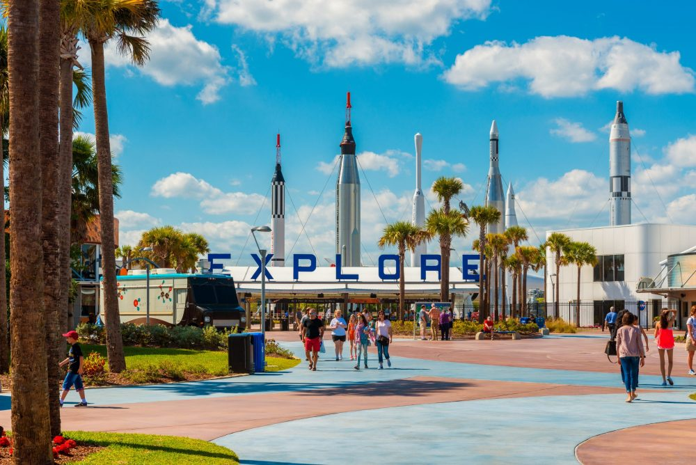 Entrance to Kennedy Space Center Visitor Complex | thing to do in orlando