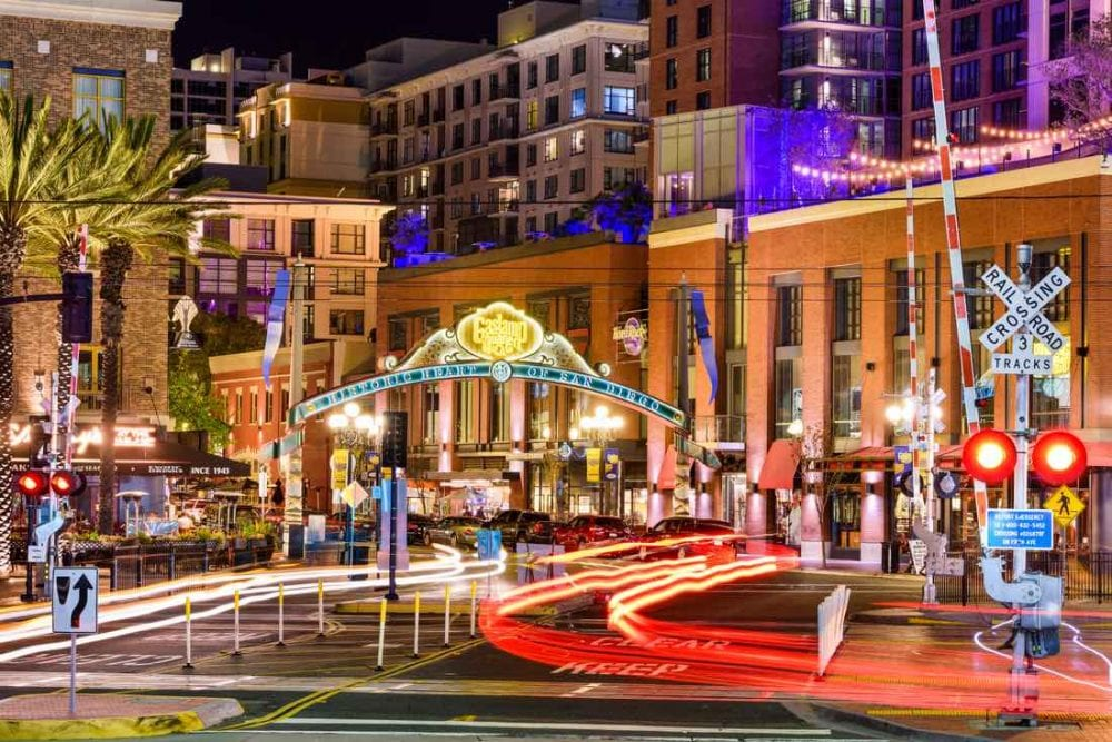 Gaslamp Quarter at night. The historic district is the center of nightlife in the city sign