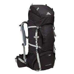 Black High Sierra Explorer 55 Internal Frame Pack, part of travel packing list