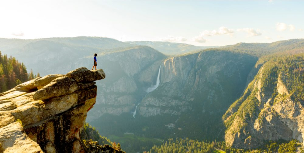 Hiker at the Glacier Point | things to do in yosemite