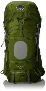 Green Osprey Men's Aether 70 Backpack, part of travel packing list
