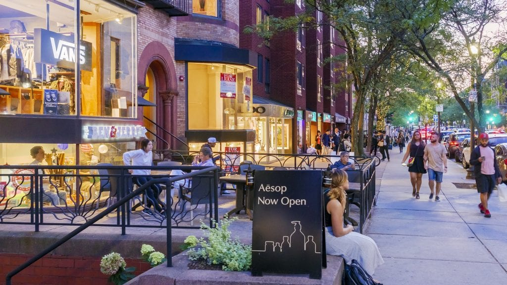 Panoramic view of the iconic Newbury Street in Boston | best things to do in boston