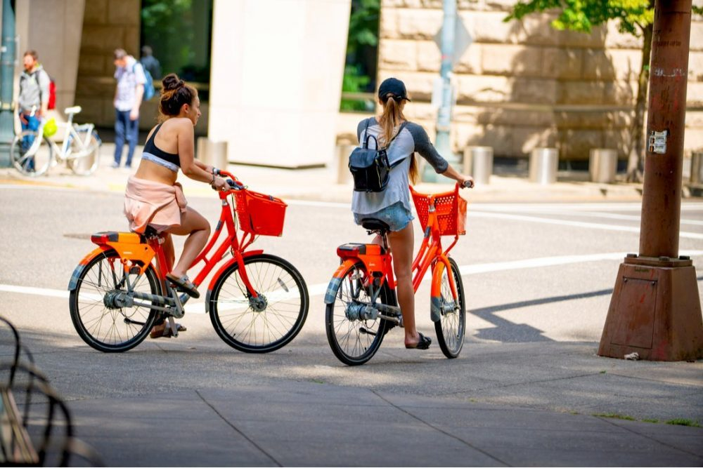 Riding BikeTown in downtown Portland | things to do in portland