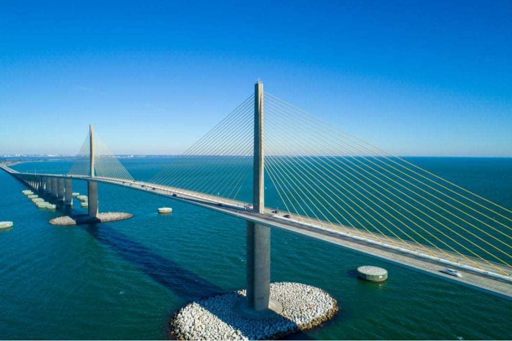 Steel cable suspension bridge Tampa Bay Florida | Best things to do in tampa