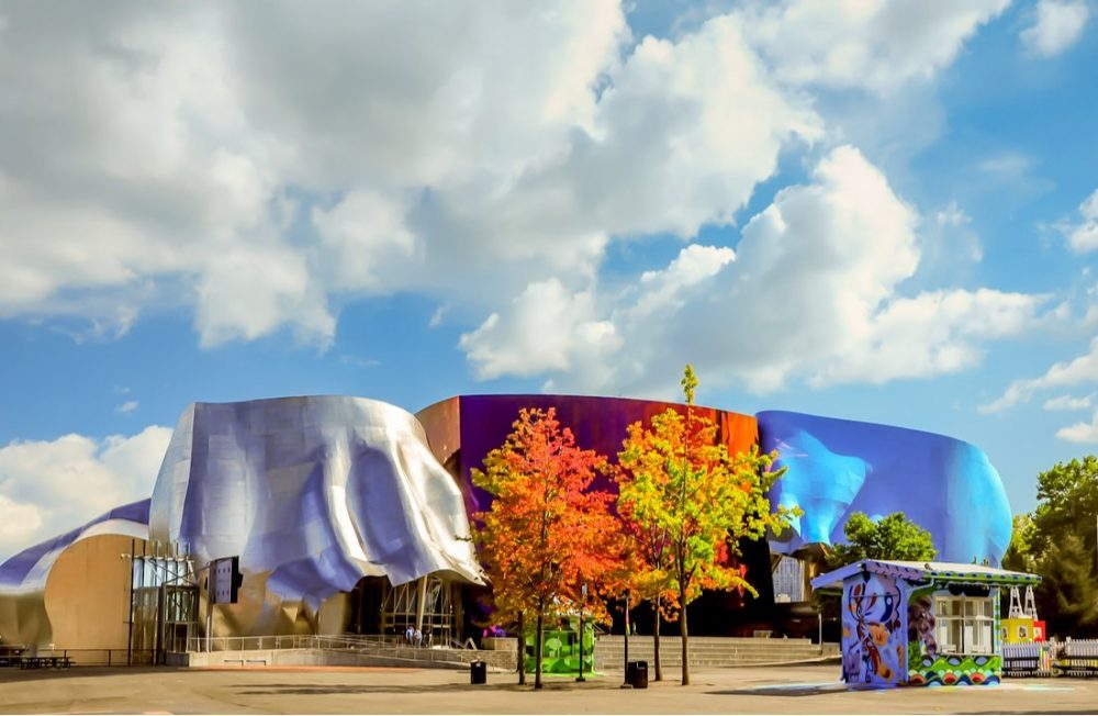The Museum of Pop Culture with colorful tree standing in front of buildings | things to do in seattle