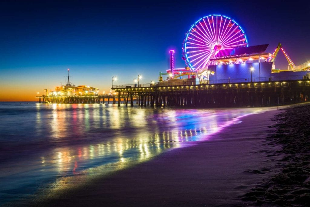 The Santa Monica Pier at night Best things to do in LA