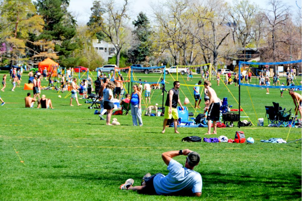 Volleyball league games are very popular in Washington Park | things to do in denver