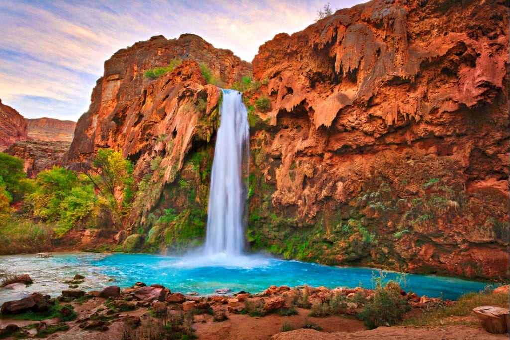 Havasu Falls at sunrise | best things to do in grand canyon