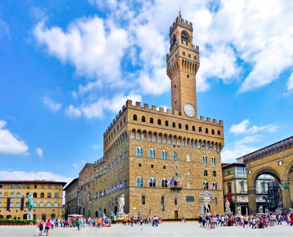 Panoramic view of famous Piazza della Signoria with Palazzo Vecchio in Florence, Tuscany, Italy   best things to do in florence