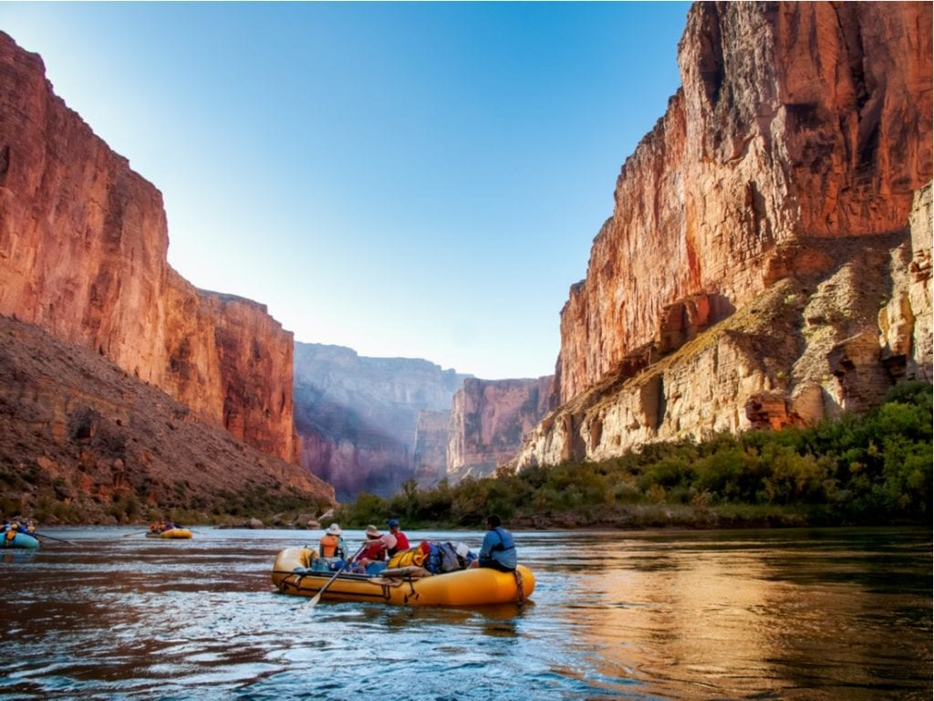 Rafting on The Colorado River in the Gran Canyon at sunrise | best things to do in grand canyon