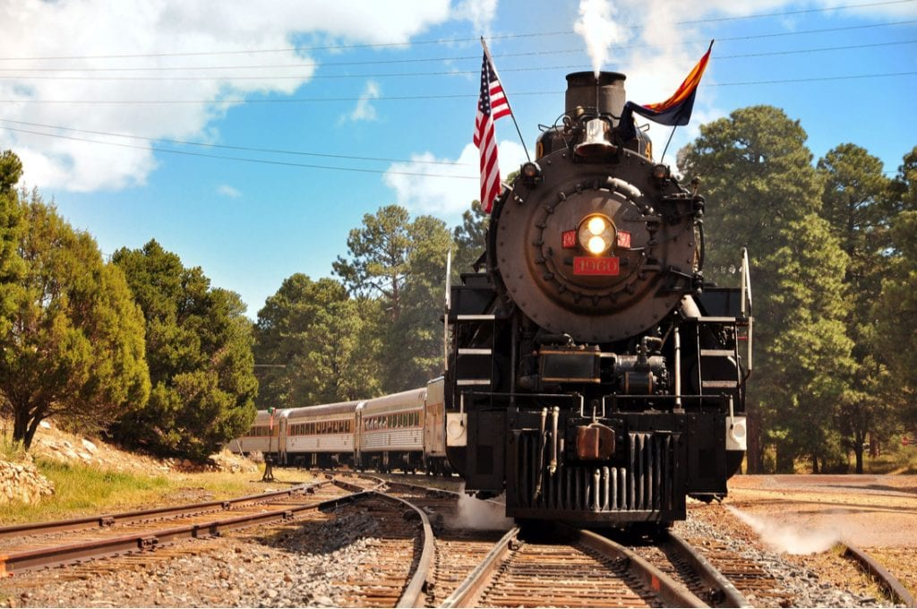 Vintage Steam Locomotive at the station in Grand Canyon Village, Grand Canyon Railway | best things to do in grand canyon