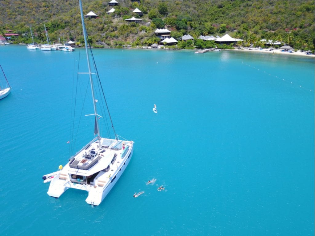 Catamaran Drone picture from Bitter End Yacht Club in the British Virgin Islands | best things to do in BVI