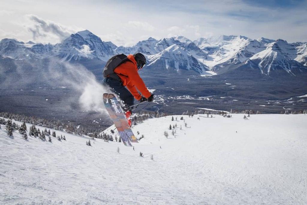 Photo of a man skiing at Lake Louise Ski Resort | things to do in banff