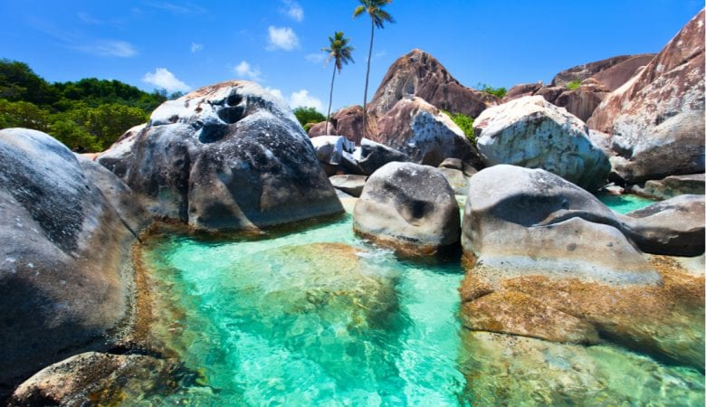 The Baths beach area major tourist attraction at Virgin Gorda, British Virgin Islands with turquoise water and huge granite boulders | best things to do in BVI
