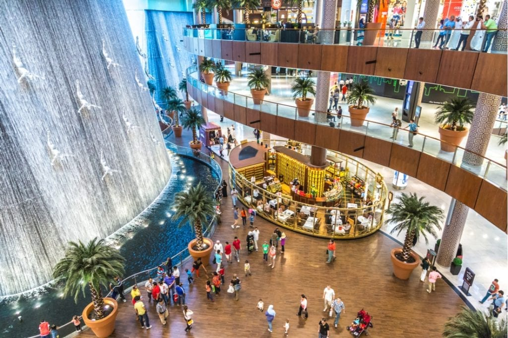 Waterfall in Dubai Mall - world's largest shopping mall | best things to do in dubai
