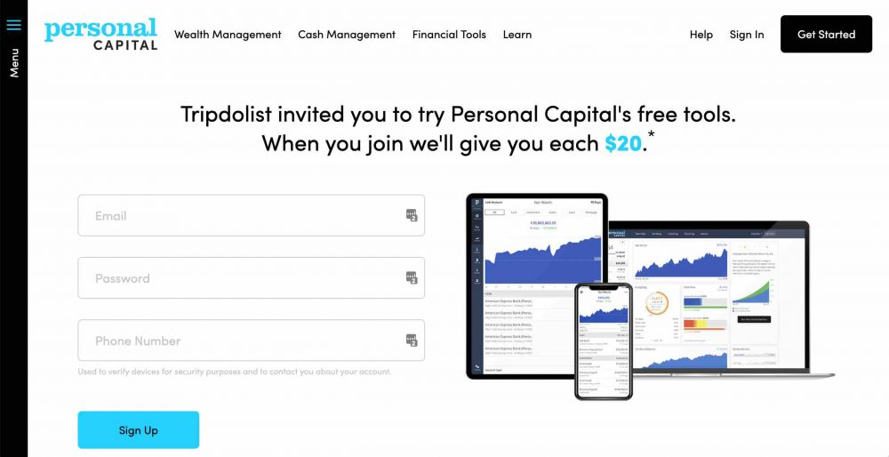 personal capital 20 dollar refererral