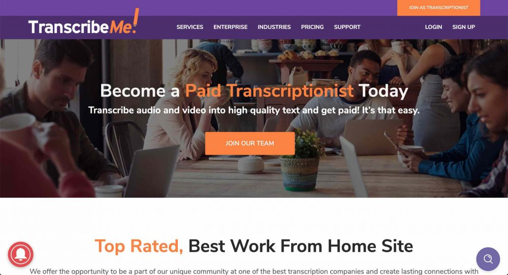 transcribeme! screenshot of website